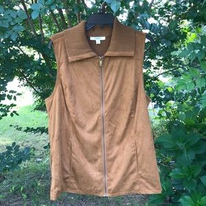 Liz Claiborne Brown Zip Faux Suede Sweater Vest 1X
